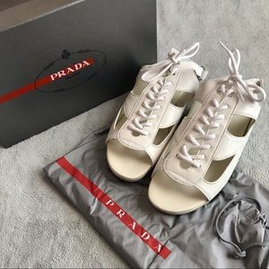 Prada Sport Leather Lace-Up Gladiator Sandals 39.5